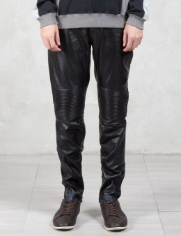 VALLIS BY FACTOTUM Knee Patch Slim Leather Pants Picture