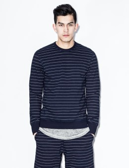 REIGNING CHAMP Indigo Striped RC-3207-26 Terry L/S Crewneck Sweater Picture