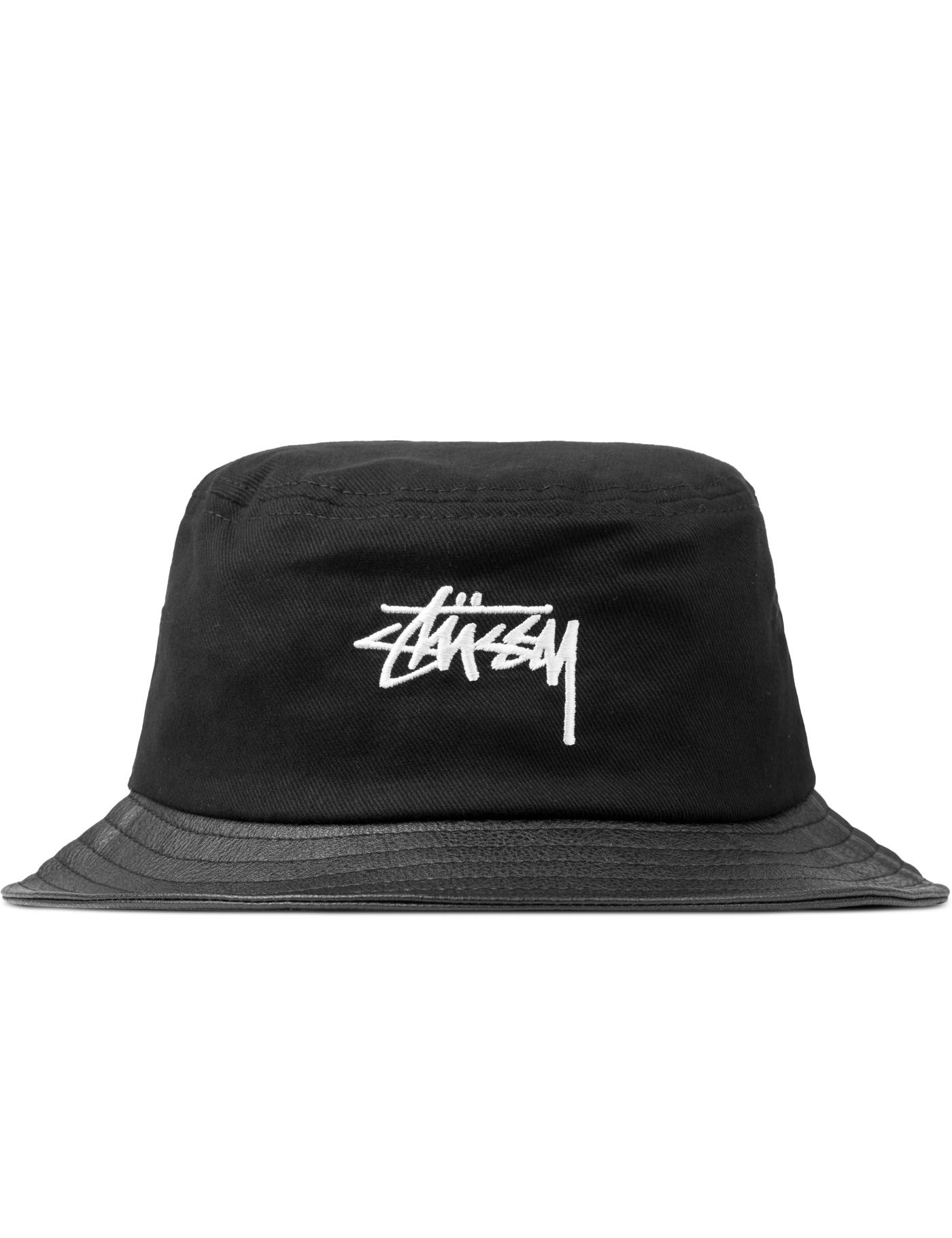 Stussy Black Stock Leather Brim Bucket Hat | HBX.