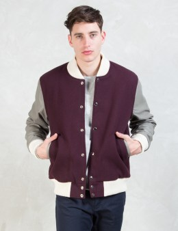 MKI Black Burgundy/Grey Classic Varsity Jacket Picture
