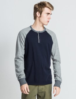 REIGNING CHAMP Navy/Heather Grey RC-2074 LS Henley Sweater Picture