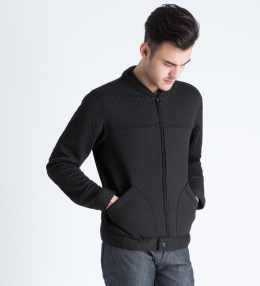 Naked & Famous Black Quilted Jacquard Zip Jacket Picture
