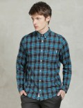 Carhartt WORK IN PROGRESS Aruba Blue Rinsed L/S Floyd Check Shirt Picture