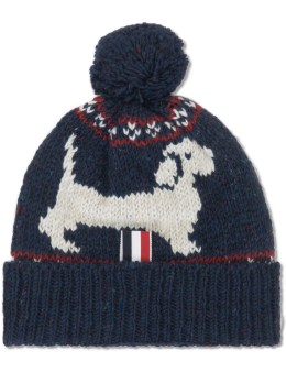 THOM BROWNE Mohair Tweed Hector Browne Fair Isle Jacquard Beanie with Pom Pom Picture