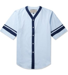 Casely Hayford Pale Blue Buchan S/S Baseball Shirt Picture