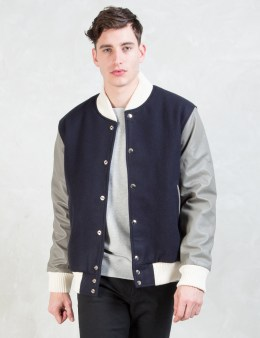 MKI Black Navy/Grey Classic Varsity Jacket Picture