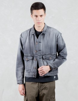 VALLIS BY FACTOTUM Drop Shoulder Washed Denim Jacket Picture