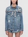 SJYP Destroyed Scarf Trim Denim Jacket Picutre