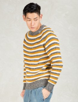 N.Hoolywood Yellow L/S 3tone Stripe Sweater Picture
