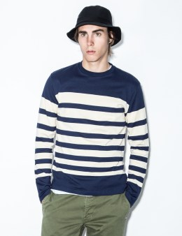 FUCT SSDD Navy/White Border L/S T-Shirt Picture