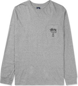 Stussy Heather Grey World Tour L/S Pocket T-Shirt Picture