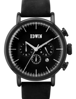 EDWIN Watch Black With Black Leather Band Element Picture