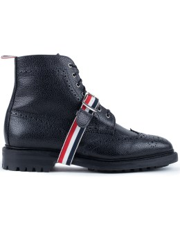THOM BROWNE Pebble Grain Leatehr Classic Wingtip Boots with Commando Sole & Grosgrain Straps Picture