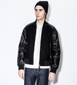 MKI Black Black Chrome Nappa Ralange Varsity Jacket Picture