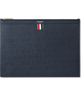 THOM BROWNE Navy Pebble Grain Leather Med Zipper Document Holder (A4) Picutre