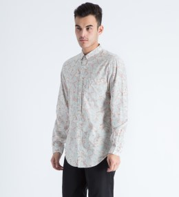 Shades of Grey by Micah Cohen Light Grey Floral Button Down Shirt Picture