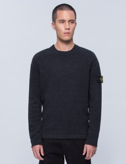 STONE ISLAND Crewneck Knit Sweater With Logo Arm Patch Picture