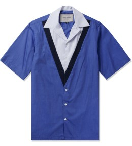 Casely Hayford Mid Blue Dwayne Rib Front Bowling Shirt Picture
