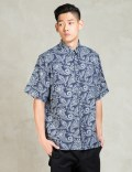 CLOT Floral Navy Washed Pattern S/S Shirt Picture