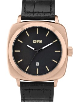 EDWIN Watch Rose Gold With Black Leather Band Julius Picture