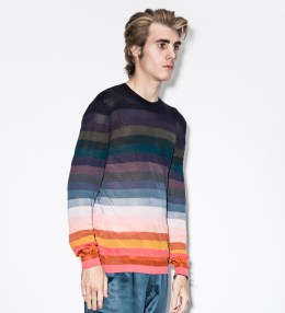 Paul Smith Rainbow Stripe Linen And Silk-Blend Sweater Picture