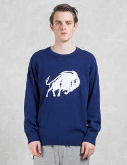 White Mountaineering Buffalo Intersia Round Neck Knit Sweater Picture