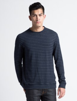Naked & Famous Navy Tonal Stripe Double Knit Slim Crewneck T-Shirt Picture
