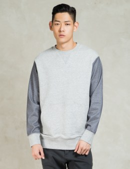 ZANEROBE Grey Marle/Navy Mesh 3D Crew Sweat Picture