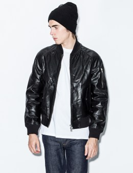 MKI Black Black High Grain Raglan Bomber Jacket Picture