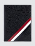 THOM BROWNE Pebble Grain and Calf Leather Passport Holder with RWB Diagonal Stripe Picture