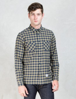 """BEDWIN & THE HEARTBREAKERS Yellow Check """"Rick"""" Flannel Shirt Picture"""