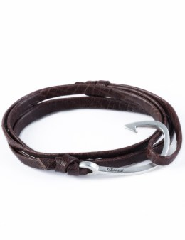 Miansai Mojave Brown Silver Hook On Leather Bracelet Picture