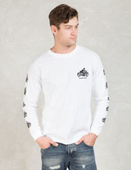 Hombre Nino White Motorcycle Print L/S T-shirt Picture