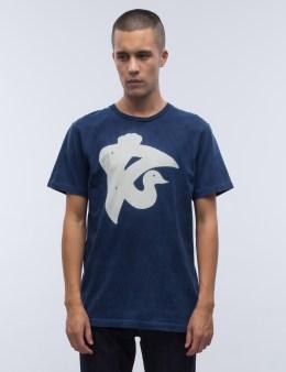 """BLUE BLUE JAPAN Indigo """"bassen"""" Traversable Paint Crain S/S T-Shirt Picture"""