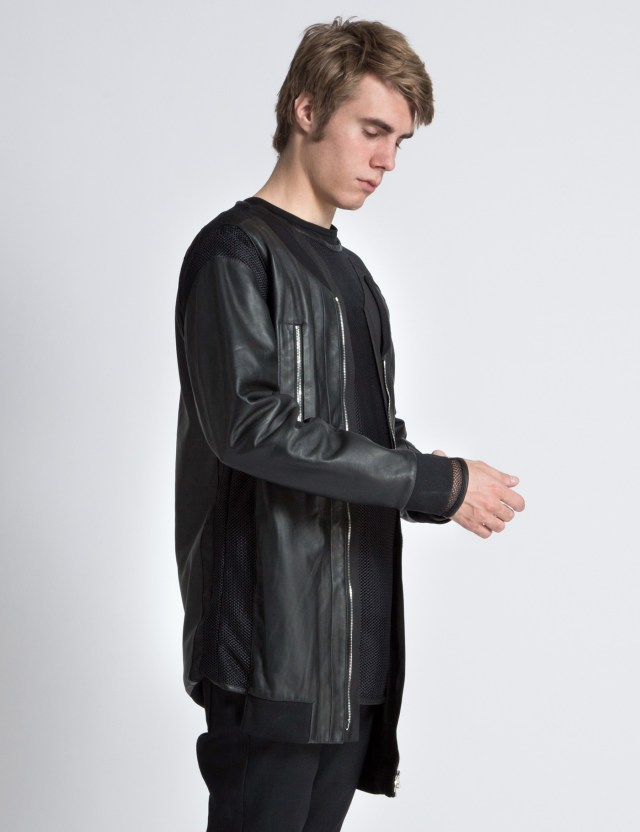 Hood By Air. Black Leather Panel Bomber Jacket with Mesh Combo | HBX.