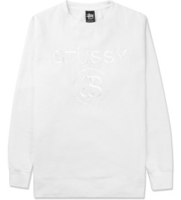 Stussy White Stussy Link Emb. Crewneck Sweater Picture