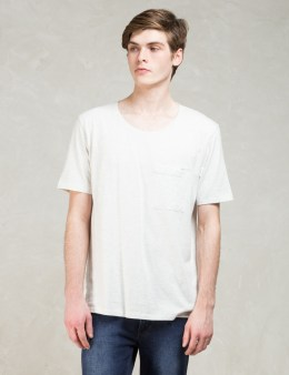 Nudie Jeans White S/S Roundneck Pocket T-shirt Picture