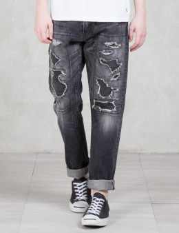 Denim by Vanquish & Fragment Black Five Years Wide Straight Denim Pants Picture