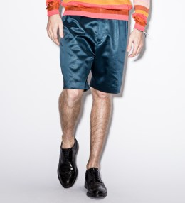 Paul Smith Navy Cotton-Blend Satin Shorts Picture