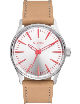 Nixon Silver/Bright Coral Sentry 38 Leather Watch Picture