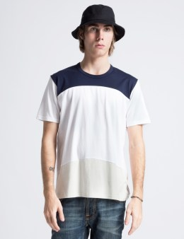 Aloye Navy Blue/Off White Short Sleeve Colour Block T-Shirt Picture