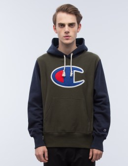 Champion Reverse Weave Tri-Color Oversize Logo Hoodie Picture