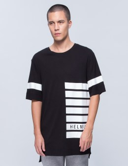HELMUT LANG Logo Stripe Print Oversized T-Shirt Picture