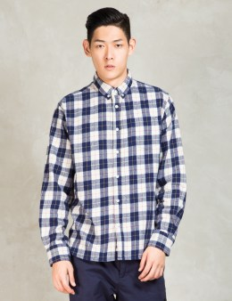 PENFIELD Navy Pearson Brushed Flannel Long Sleeve Shirt Picture