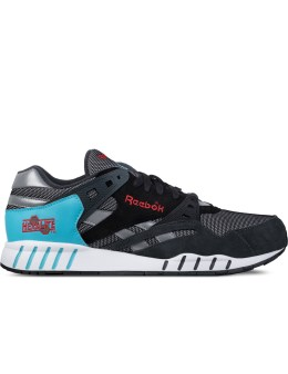 Reebok Gravel/Black/Neon Blue/Poppy Red/White Sole-Trainer Sneakers Picture