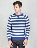 "DELUXE Blue/White striped ""Walk And Talk"" Sweatshirts Picture"