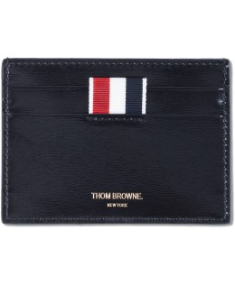 THOM BROWNE Calf Leather Single Card Holder with RWB Printed Stripe Picture