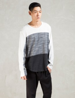 Shades of Grey by Micah Cohen White Colorblock L/S T-Shirt Picture