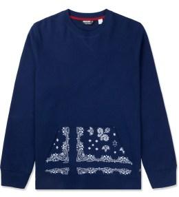 UNDEFEATED Navy Bandana Pocket Crew Sweater Picture