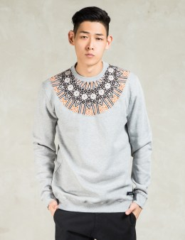 IUTER Grey Round Jacquard Insert Crewneck Sweater Picture